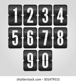 0 to 9 black and white gradient flip symbols, scoreboard vector