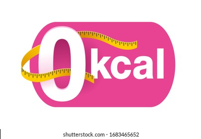 0 kcal icon or stamp for packaging of zero calories diet food products - zero sign with measuring tape around