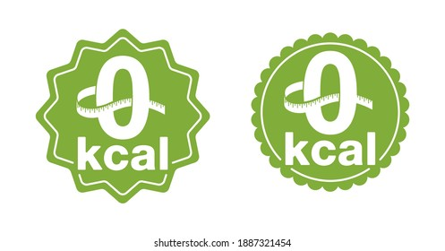 0 kcal - stamp for packaging of zero calories diet food - zero green icon with measuring tape around