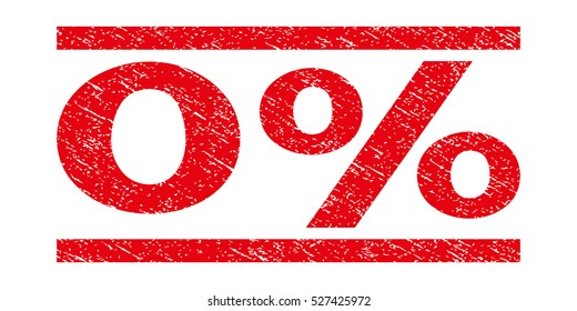 0 Percent watermark stamp. Text tag between horizontal parallel lines with grunge design style. Rubber seal red stamp with scratched texture. Vector ink imprint on a white background.