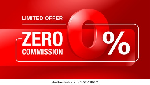 0 percents limited time special offer banner template - zero commission limited offers message for web, poster, promo materials - vector layout
