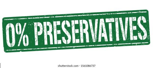 0% preservatives sign or stamp on white background, vector illustration