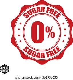 0% Sugar free stamp.Vector.