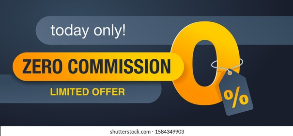 0% zero commission special offer banner template with yellow an dark gray color scheme - vector promo limited offers flyer