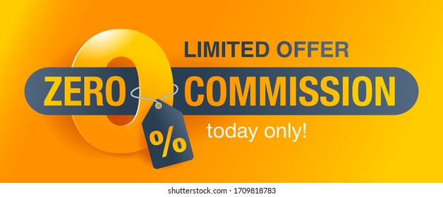 0% zero commission special offer banner template with yellow background - vector promo limited offers flyer