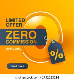 0% zero commission special offer square banner template in yellow an dark gray colors - vector promo limited offers flyer