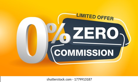0 zero commission special offer banner template in yellow an dark gray colors - vector promo limited offers flyer