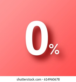 0% - Zero Percent isolated on red background with shadow. Vector illustration, easy to edit.  Template for your design, website, infographic, brochure, cover, business annual report,...
