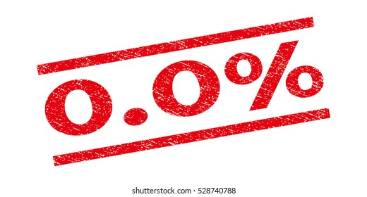 0.0 Percent watermark stamp. Text tag between parallel lines with grunge design style. Rubber seal stamp with unclean texture. Vector red color ink imprint on a white background.