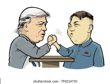 01. 13.2018. Political caricature: Arm wrestling Trump vs Kim Jong-un. Editorial. eps.10