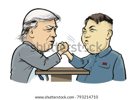 01 132018 political caricature arm wrestling stock vector royalty
