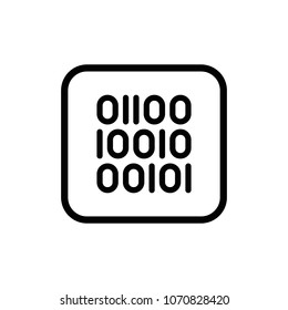 01 or binary code stream line vector icon. Secure outline illustration.
