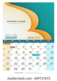 01 january hijri 1439 to 1440 islamic calendar 2018 design template simple minimal elegant desk