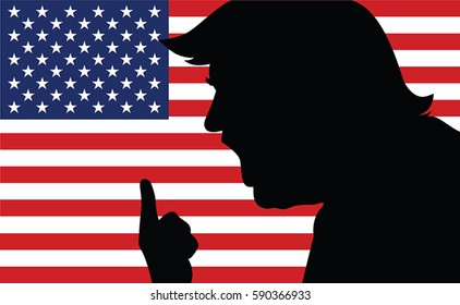 01 MAR, 2017: Picture of Donald Trump. New president portrait.Donald Trump silhouette.Donald Trump portrait on US flag background.Vector illustration.