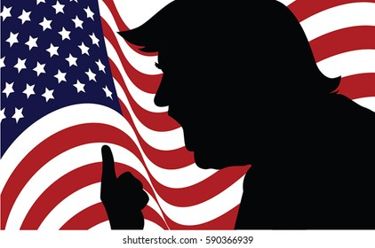 01 MAR, 2017: President of United States. Picture of Donald Trump. Donald Trump silhouette.Donald Trump portrait on US flag background.Vector illustration.