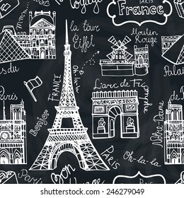 01.11.2014.Seamless pattern.Doodles Vector illustration icon.Famous Paris landmark:Notre Dame,Eiffel tower,Arc Triomphe,Moulin Rouge,Louvre.Chalkboard Background.Hand drawn Retro sketchy.French words.