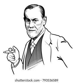 01.15.2018 Vector artwork of famous psychologist Sigmund Freud. Editorial. eps.10