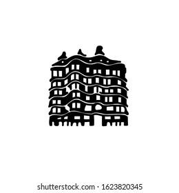 01/23/2020 Barcelona Spain Vector illustration. House of Casa Mila. Black silhouette on a white background. La Pedrera - house designed by Antoni Gaudi. Barcelona Attractions.