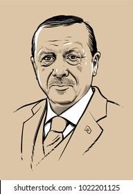 02.11.2018. Vector portrait of Turkish president Recep Tayyip Erdogan. eps.10. Editorial use only.
