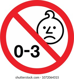 0-3 age warning symbol vector