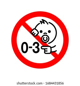 0-3 - Not suitable for children under 3 years prohibition sign with crossed out baby face and age digits - isolated vector packaging information