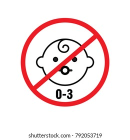 0-3 year no baby vector icon for graphic web design and signs