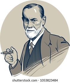 03.25.2018. Vector artwork of famous psychologist Sigmund Freud. Editorial use only. Eps.10