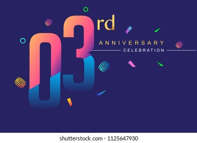 03rd anniversary celebration with colorful design, modern style with ribbon and colorful confetti isolated on dark background, for birthday celebration