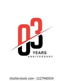 03rd anniversary logo red and black swoosh design isolated on white background for anniversary celebration.
