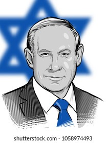 04.01.2018. Vector Portrait of Benjamin Netanyahu Prime Minister of Israel. Editorial use only