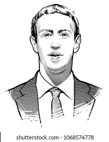04.14.2018. Hand drawn portrait of Mark Zuckerberg founder of Facebook. Editorial use only