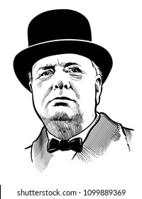 05, 28, 2018: Portrait of Prime Minister of the United Kingdom Winston Churchill. Vector artwork. Editorial use only
