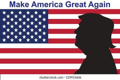 "05 DEC, 2016: President Donald Trump portrait on US flag background. Donald Trump election motto ""Make America Great Again""."