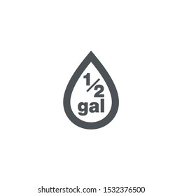 0.5 gal sign (mark) estimated volumes gallons. Vector symbol packaging, labels used in the US for prepacked foods drinks different gallons and quarts. 0.5 gal vol single icon isolated white background