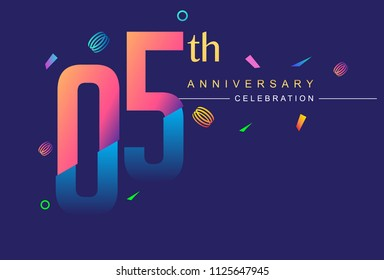 05th anniversary celebration with colorful design, modern style with ribbon and colorful confetti isolated on dark background, for birthday celebration
