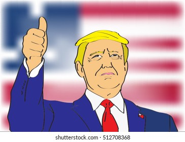 09 NOV, 2016: New 45th President of United States was elected. Picture of Donald Trump with thumbnail up. Trump new president portrait.Donald Trump.Donald Trump.Donald Trump.