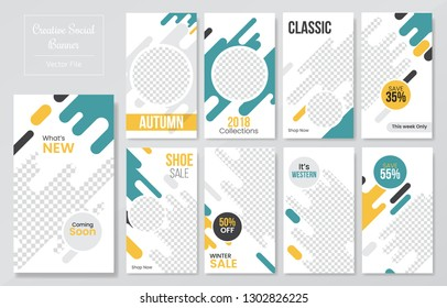 09 Slides abstract Unique Editable modern Social Media banner Template.Anyone can use This Design Easily.Promotional web banner for social media. Elegant sale and discount promo - Vector.