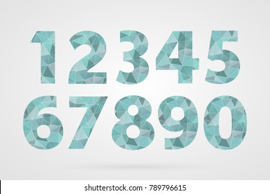 1 2 3 4 5 6 7 8 9 0 polygonal geometric numbers. Decorative blue geometric icons set. Zero one two three four five six seven eight nine signs. Abstract triangle symbols for decoration, concept design