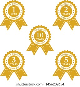 1, 2, 3, 5, 10 years warranty label or seal flat vector icon gold on transparent background