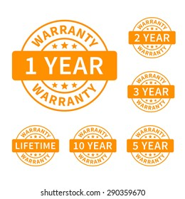 1, 2, 3, 5, 10 years and lifetime warranty label or seal flat vector icon