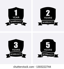 1, 2, 3 and 5 years Warranty Icons isolated on Shield Medal. Vector