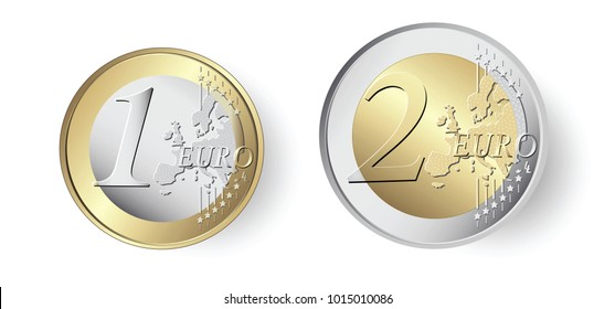 1 and 2 Euro coins stock illustration