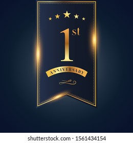 1 anniversary celebration logotype. anniversary logo with confetti golden colored isolated on black blue background, vector design for greeting card and invitation card and celebration event