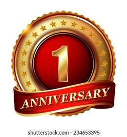 1 Anniversary golden label with ribbon. Vector illustration.