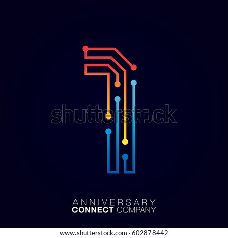 1 anniversary letter one logotype orange and blue colortechnology and digital abstract dot