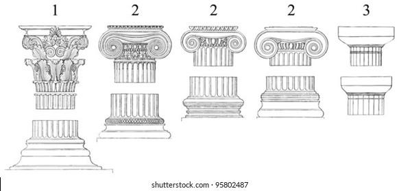 1. Corinthian  2. Ionic  3. Doric columns / vintage illustration from Meyers Konversations-Lexikon 1897