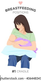 #1 Cradle - 1 of 9: Mother Holding Her Sweet Newborn Baby While Feeding it with her Nourishing Nipple in Cradle Position