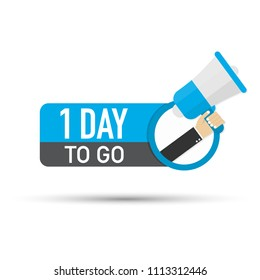 1 day to go flat icon on white background. Vector stock illustration.