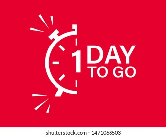 1 day to go isolated vector icon. Red countdown vector sign. Vector alarm of sale or low price. Christmas sales. EPS 10