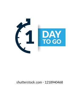 1 day to go label,sign,button. Vector stock illustration.